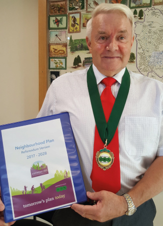 Hednesford Town Council Chairman (Councillor Alan Pearson) with the Referendum Version of the Neighbourhood Plan