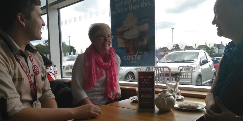 A Chatter & Natter table has been introduced in the Hednesford branch of Costa.   Ryan Thompson, store manager is pictured at the table with Hednesford Town Councillors Sharon Jagger and Debbie Cartwright.